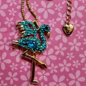 Betsey Johnson Crystal Flamingo Necklace